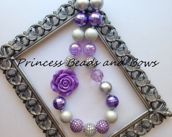 Silver and Lavender Purple Rose Chunky Necklace, Purple Rose Necklace, Bubble Gum Necklace, Purple Flower Chunky Necklace