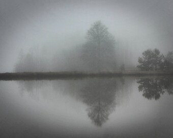 Black and White Moody Foggy Misty Lake and Trees Reflection Fine Art Photography