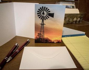 A rural windmill at sunrise notecard
