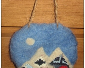 Handmade Felted Mountains Wall Hanging