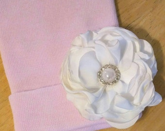 Solid Pink Newborn Hospital Hat w/ White Silk Flower w/ Rhinestones and Pearl on it! Hospital Beanie. aDOrABle!