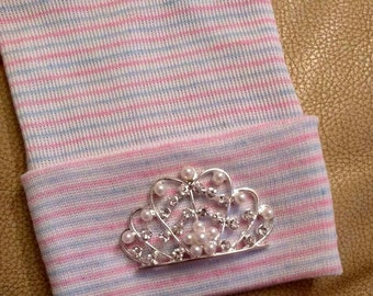 Newborn Hospital Hat EXCLUSIVE. Pink Blue and White Stripe Hat with Clear Rhinestone & Pearl Tiara. Her 1st Keepsake! For the Princess