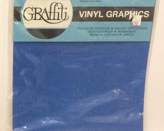 "Graffiti Vinyl Lettering Helvetica NUMBERS Blue 1/4"" STICKERS"