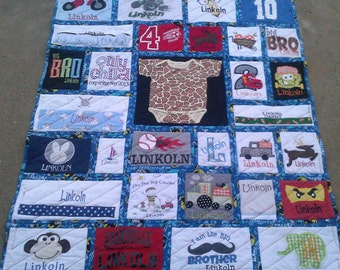 baby clothes quilt/memory quilt/kids quilt/boys clothes/girl clothes