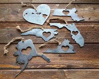 Pick Your State or Country State Christmas Ornament Metal State Heart Christmas Tree Ornament Holiday Gift Wedding Favor By BE Creations