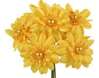 6 Pcs Daisy Yellow Fabric Flower Bouquet Flowers Supplies Wedding Artificial Flower Silk Flower Gerbera Daisy