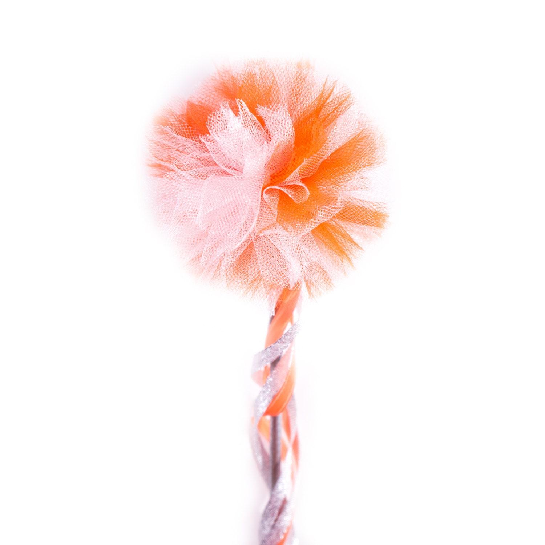 Orange white tulle pom wand pink gold wand shiny for Orange wand