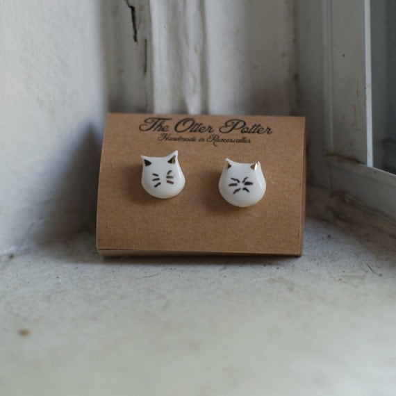 Cat Whiskers Porcelain and 18k Gold Stud Earrings
