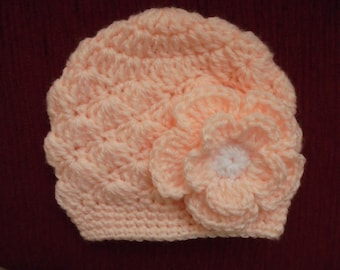 Baby girl hat Peach baby hat Crochet baby hat Newborn girl hat Winter baby girl hat Peach newborn hat Crochet newborn hat Hospital hat
