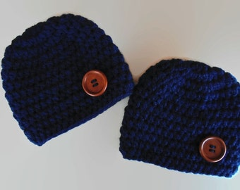 Newborn twin hat set, navy twin hats, twin boy hats, twin beanies, newborn twin hats, twin boy outfit, navy boy beanies, newborn boy hats