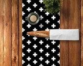 Swiss Cross Table Runner, Black and White Swiss Cross Decor, Scandinavian Table Runner, Scandinavian Dining Room, Scandinavian Kitchen Decor