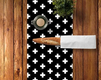 Swiss Cross Table Runner, Black and White Swiss Cross Decor, Scandinavian Table Runner, Scandinavian Dining Room, Scandinavian Kitchen Decor