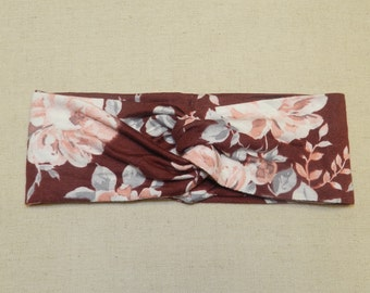 Maroon and Pink Floral Turban Twist Head Wrap Headband