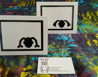 Black and White Pigtail and Ponytail Blank Notecards