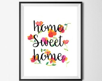 Home Sweet Home printable, home sweet home print, diy poster, printable art, house warming gift, motivation,inspiratio, last minute gift