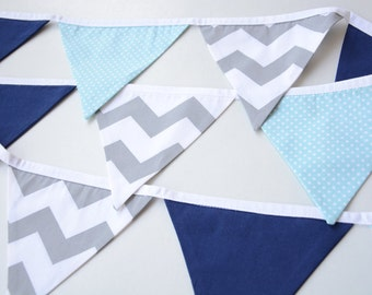 Blue and Grey nursery decor, Baby shower banner, Navy, Grey, Chevron, spots, Pennants, nursery bunting, Boys room decoration, photo prop