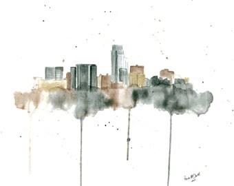 Omaha Skyline Art - Omaha Skyline Painting - Omaha Skyline Print - Nebraska Print -  Omaha Nebraska - Omaha Wall Art - Omaha Art