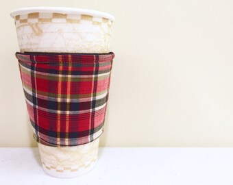 Red and Black Plaid Insulated Coffee or Tea Sleeve