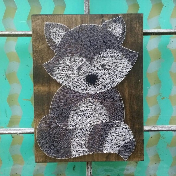Raccoon String Art Woodland Theme Nursery Decor Forest