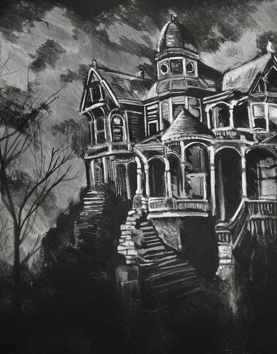 A3 Haunted House Drawing Moody Original Wall Art