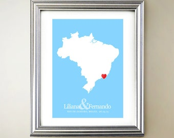 Brazil Custom Vertical Heart Map Art - Personalized names, wedding gift, engagement, anniversary date
