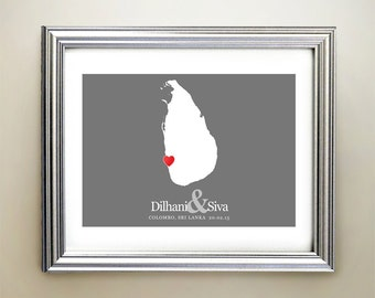 Sri Lanka Custom Horizontal Heart Map Art - Personalized names, wedding gift, engagement, anniversary date