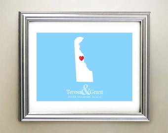 Delaware Custom Horizontal Heart Map Art - Personalized names, wedding gift, engagement, anniversary date