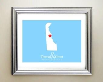 Delaware Custom Horizontal Heart Map Art - Personalized names, wedding gift, engagement, anniversary date
