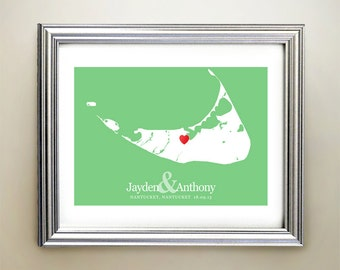 Nantucket Custom Horizontal Heart Map Art - Personalized names, wedding gift, engagement, anniversary date