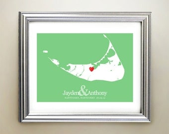 Nantucket Custom Horizontal Heart Map Art - Personalized names, wedding gift, engagement, anniversary date