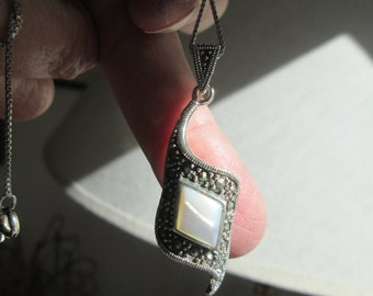 Handcrafted Mother of Pearl and Marcasite Sterling Silver 925 Large Drop Pendant, Wt. 6.7 Grams, 1 3/4 Inches Long