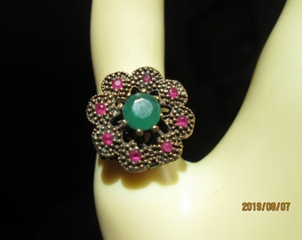 Vintage Inspired Art Deco  1.04ctw Emerald, Ruby and Sapphire Rose Gold/925 Sterling Flower Ring Size 7, Wt. 7 Grams,  Hallmarked 925