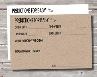 Baby Prediction Cards - Baby Shower