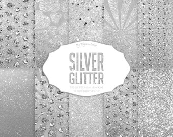 "Silver Glitter Digital Paper: ""Silver & Glitter"" digital set it contains shining glitter textures with diamonds in silver tones"