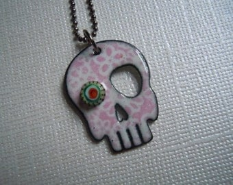 Pink and White Sugar Skull Necklace