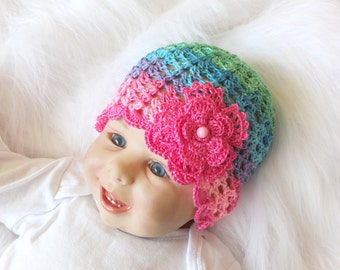 Baby girl summer hat - Baby Flower hat - Crochet baby hat - Baby girl beanie - Colorful baby girl hat