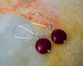 Dark Berry Malaysia Jade Earrings, Gemstone Earrings, Silver Plated Earrings, Red Earrings,Earrings Hooks,Silver Earrings,Kidney Earrings