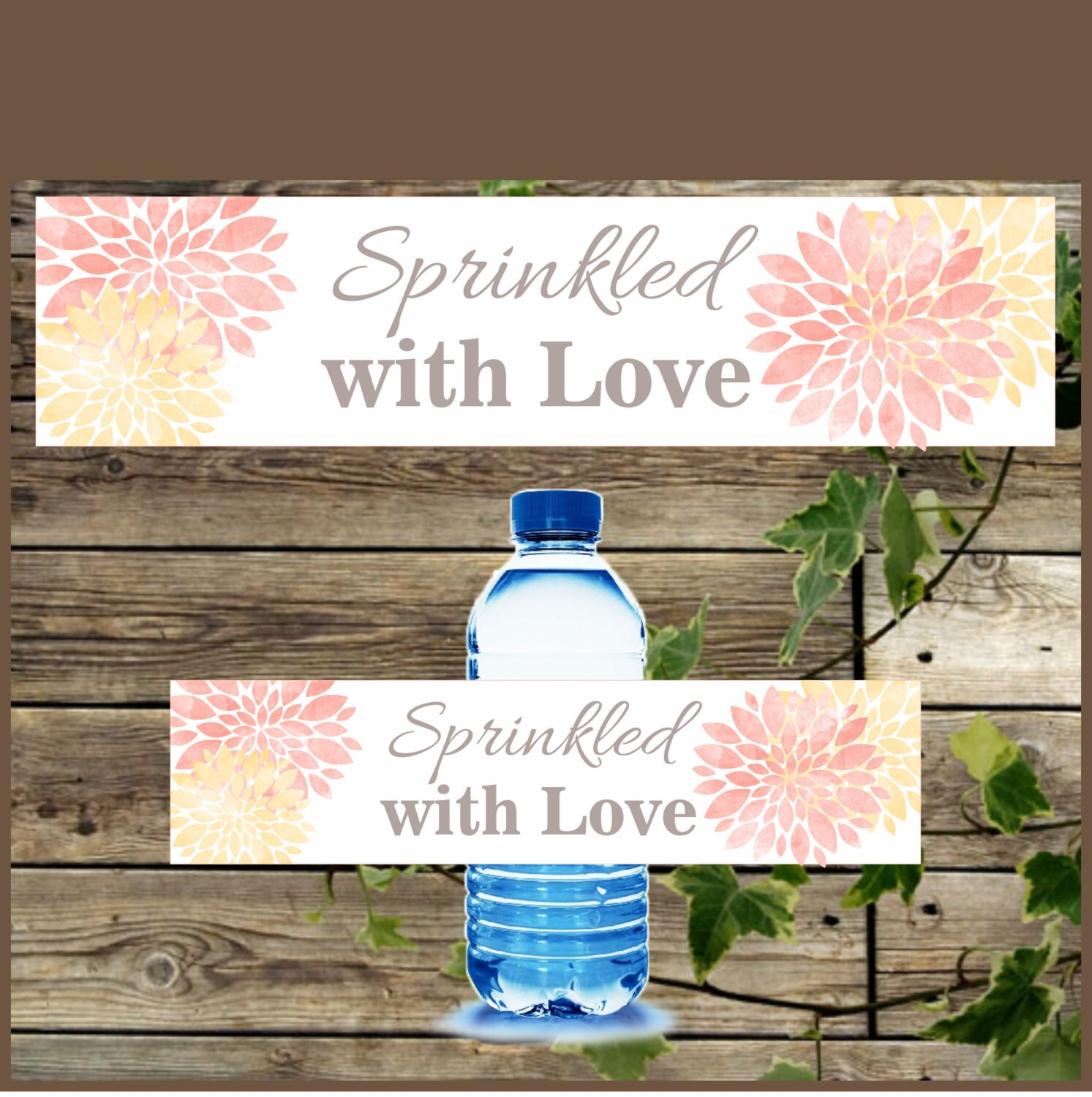 water bottle label printable baby shower floral water bottle