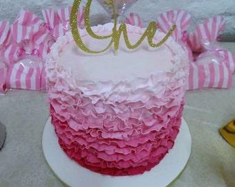 One glitter cake topper