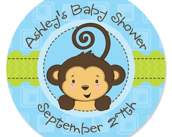Blue Monkey Boy Circle Stickers - Personalized Baby Shower and Birthday Party Supplies - Boy 1st Birthday Party - 24 Circle Labels