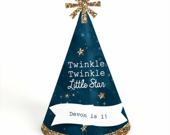 8 Twinkle Twinkle Little Star -  Party Hats - Personalized 1st Birthday Party Supplies - Set of 8