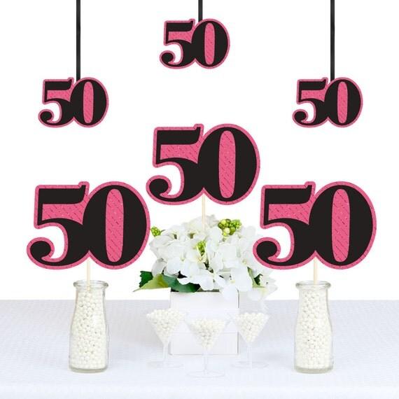 Chic 50th Birthday Pink Black And Gold DIY Birthday