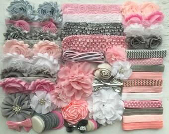 Pink & Grey Headband Kit, Baby Shower Headband Kit, Baby Shower Headband Station, DIY Headband kit, Baby Girl Headbands