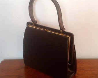 Vintage Brown Leather Bag by Eros. 1950's/60's