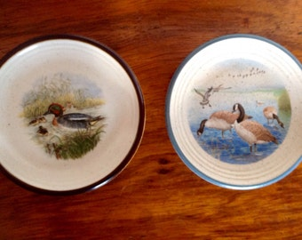 Vintage Purbeck Pottery Dishes. Geese and Duck design Pin Trays. 1970's/80's.