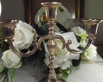 Vintage Silver Plate Three Candle Holder Candleabra ( 2 Available)