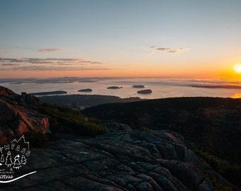 Acadia National Park Photography, Cadillac Mountain Sunrise Photo Print, Mount Desert Art, Mountain Sunrise Nature Print, Acadia Art Print