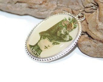 Vintage Photograph Pendant, Vintage Lady Cameo, Lady in Hat, 1887 Fashion, Victorian Fashion, Jewelry Supply, Canadian Bead Seller
