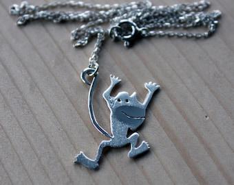 Monkey Necklace-Monkey Jewelry-Animal Necklace-Sterling Monkey Necklace-Monkey Pendant-Jungle Jewelry-Cartoon Jewelry