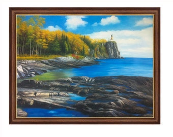"""Seascape, Naturalism Hand Painted Oil Painting of Lighthouse At a Cliff with Water Waves and Rocky Shore (36"""" X 48"""") Framed"""